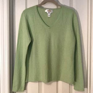 Cashmere Talbots Green V Neck Sweater